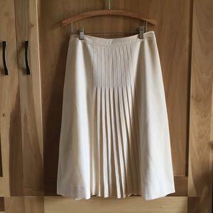Vintage Cream Wool Pleated Midi Skirt